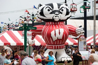 A giant inflatable version of Bucky Badger marks UW-Madison's presence on the State Fair's Central Mall.