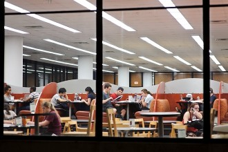 Photo: Students studying at night