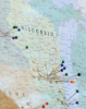 Photo: map of Wisconsin with pins