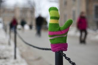 Photo: mitten on fence post