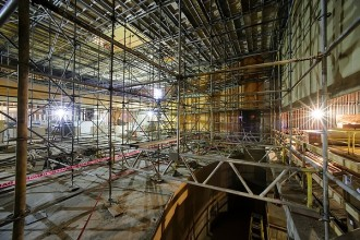 Photo: scaffolding inside Memorial Union renovation project site