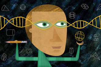 Illustration: Person with DNA forming eyeglasses