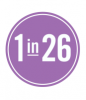 Graphic: 1 in 26 in purple circle
