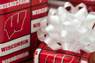 Photo: Gifts wrapped in Wisconsin paper