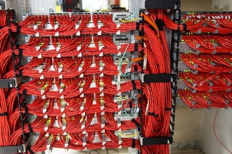 Photo: Cables connecting computer servers