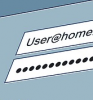Graphic: User name and password fields on a computer screen