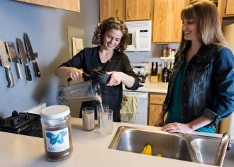 Photo: Students making mealworm shake