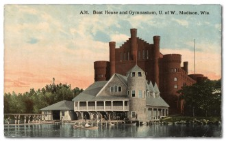 Photo: Postcard of boathouse behind Red Gym