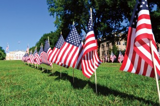 Photo: Small American flags on Bascom Hill