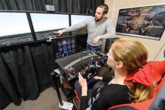 Photo: Student using flight simulator