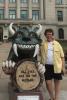 Photo: Rebecca Blank next to Hodag statue