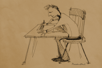 Illustration: Man writing at desk