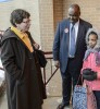 As part of a University of Wisconsin-Madison outreach trip, Rebecca Blank (left), chancellor of UW-Madison,  speak with Gerald Randall (right), executive director of the Milwaukee Partnership Academy, following a tour of the Pieper-Hillside Boys and Girls Club  on Jan. 14, 2016. (Photo by Bryce Richter / UW-Madison)