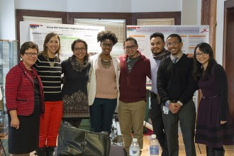 During an outreach trip to Milwaukee, UW-Madison Chancellor Rebecca Blank (left) is pictured with UW med students working with the Training in Urban Medicine and Public Health (TRIUMPH) program at the Walnut Way Conservation Corporation in Milwaukee, Wisconsin on Jan. 15, 2016. (Photo by Bryce Richter / UW-Madison)