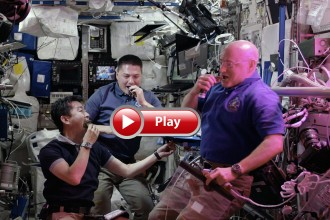 Photo: Astronauts on space station eating lettuce