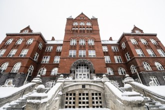 Science Hall is pictured on a snowy winter day at the University of Wisconsin-Madison on Jan. 26, 2016. (Photo by Bryce Richter / UW-Madison)