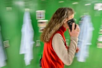 Photo: Karen Mier talking on cellphone