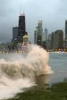 Photo: Lake Michigan waves in front of Chicago skyline