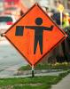 Photo: Construction flag sign