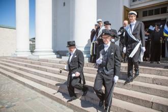 Photo: Maynard walking from conferment ceremony