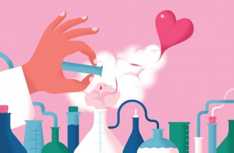 Illustration: Hand pouring liquid into beaker with heart coming out of it