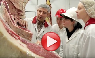 Photo: Teacher and student employees at Bucky's Butchery