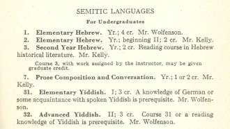 Photo: Listing of Yiddish courses in UW catalog