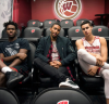 Photo: Nigel Hayes, Jordan Hill and Bronson Koenig