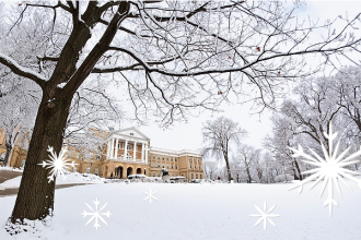 Photo illustration of Bascom Hall with snowflakes in front