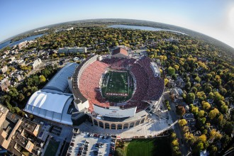 Photo: Aerial view of Camp Randall Stadium during football game