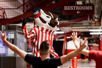 Photo: Student trying out to be Bucky Badger