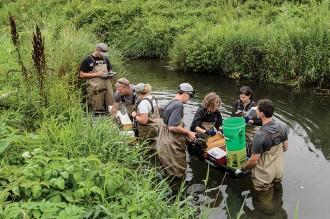 Photo: Tony Goldberg and team in a stream