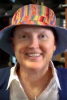 Photo: Lori Berquam wearing a colorful hat